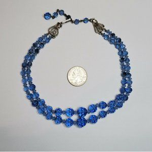 Blue Vintagey Double Row Glass Necklace
